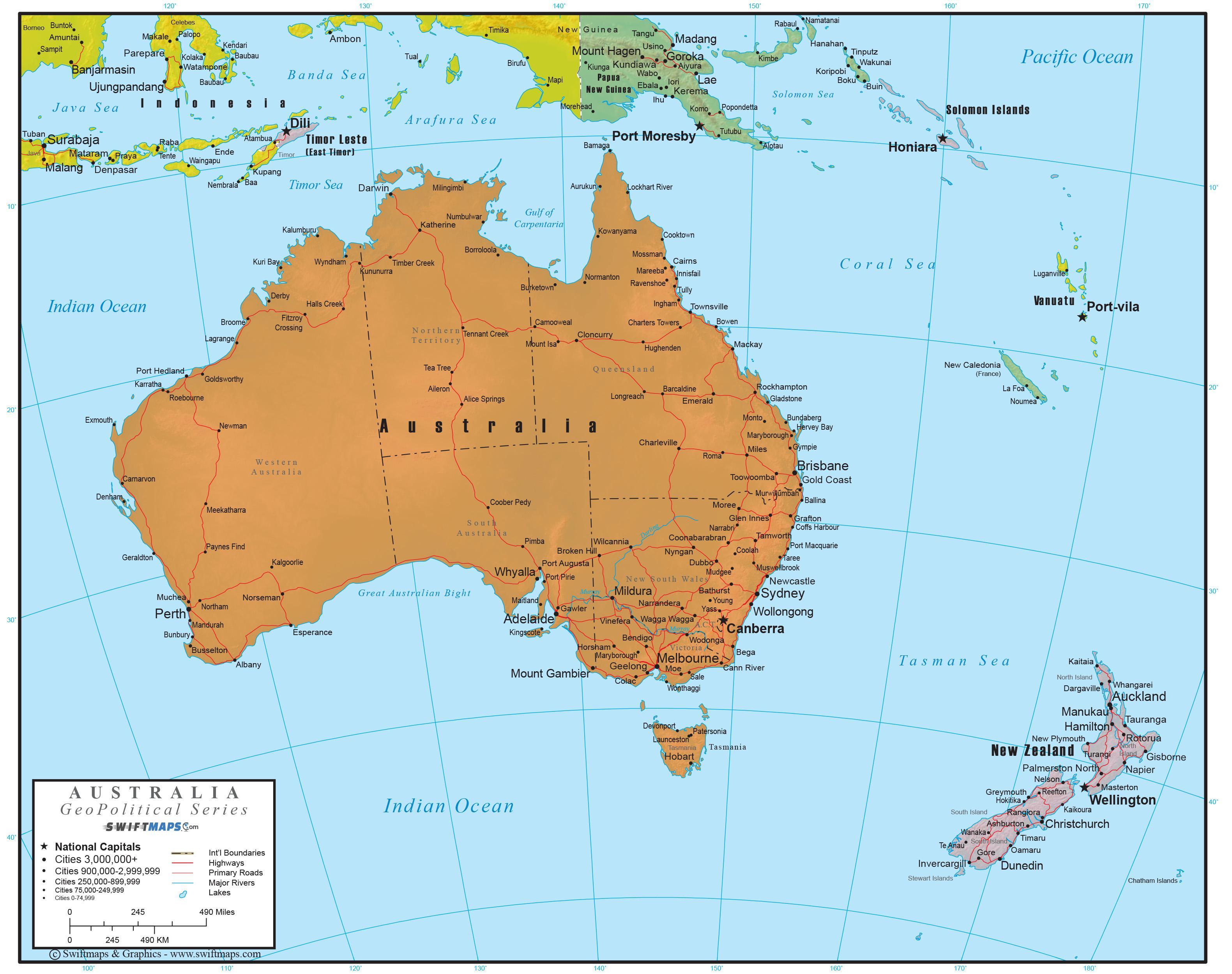 Australien Fuld Kort Komplet Kort Over Australien Og New Zealand