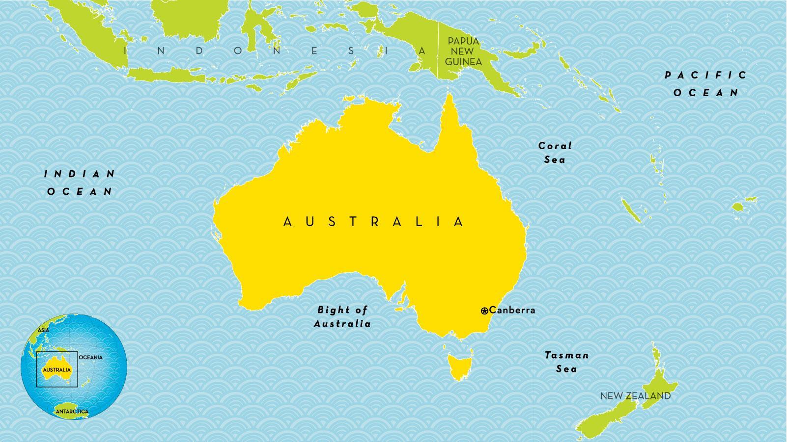 Australien Land Kort Land Kort Over Australien Og New Zealand