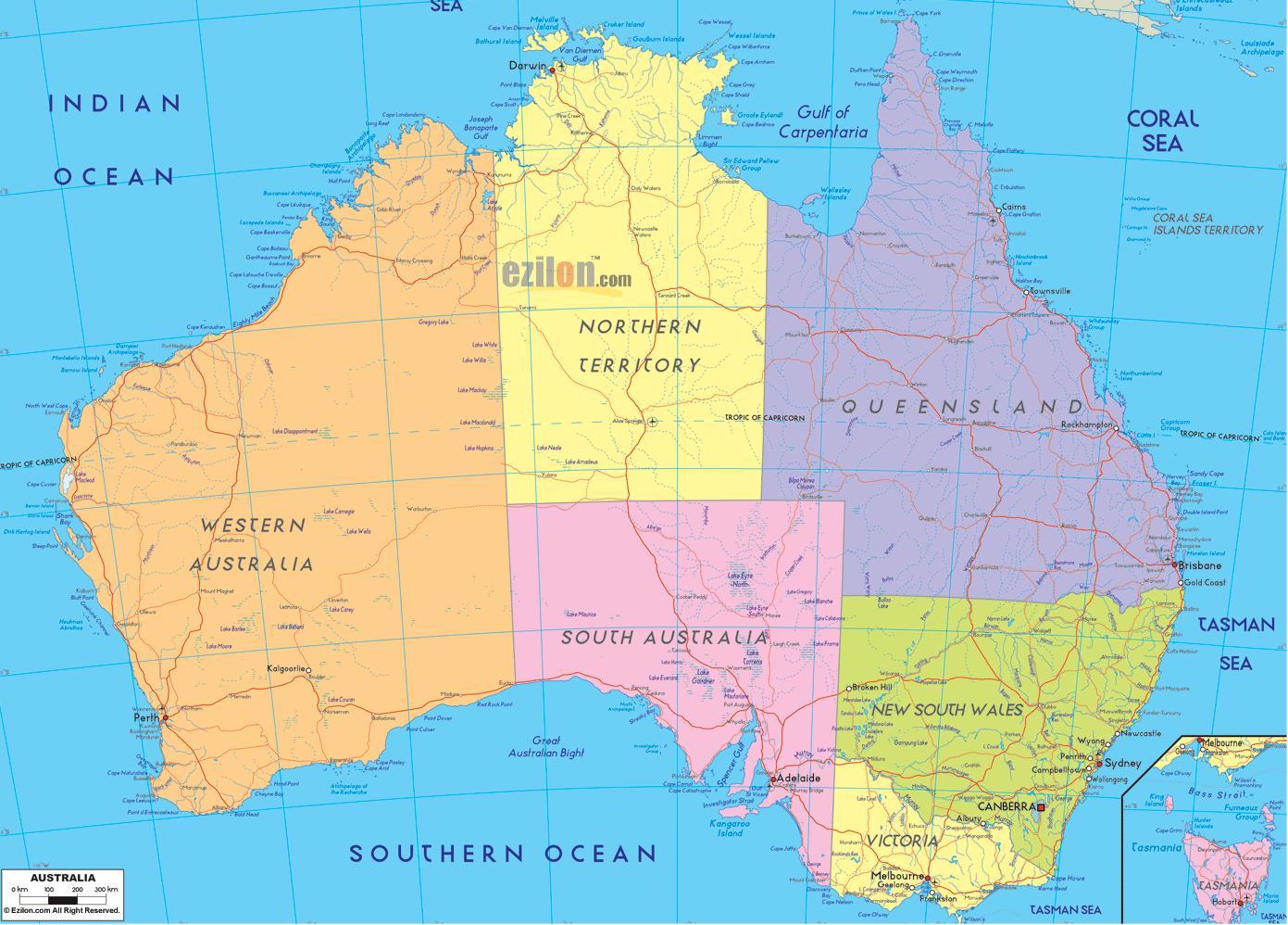 Australien Politiske Kort Politiske Kort Australien Og New