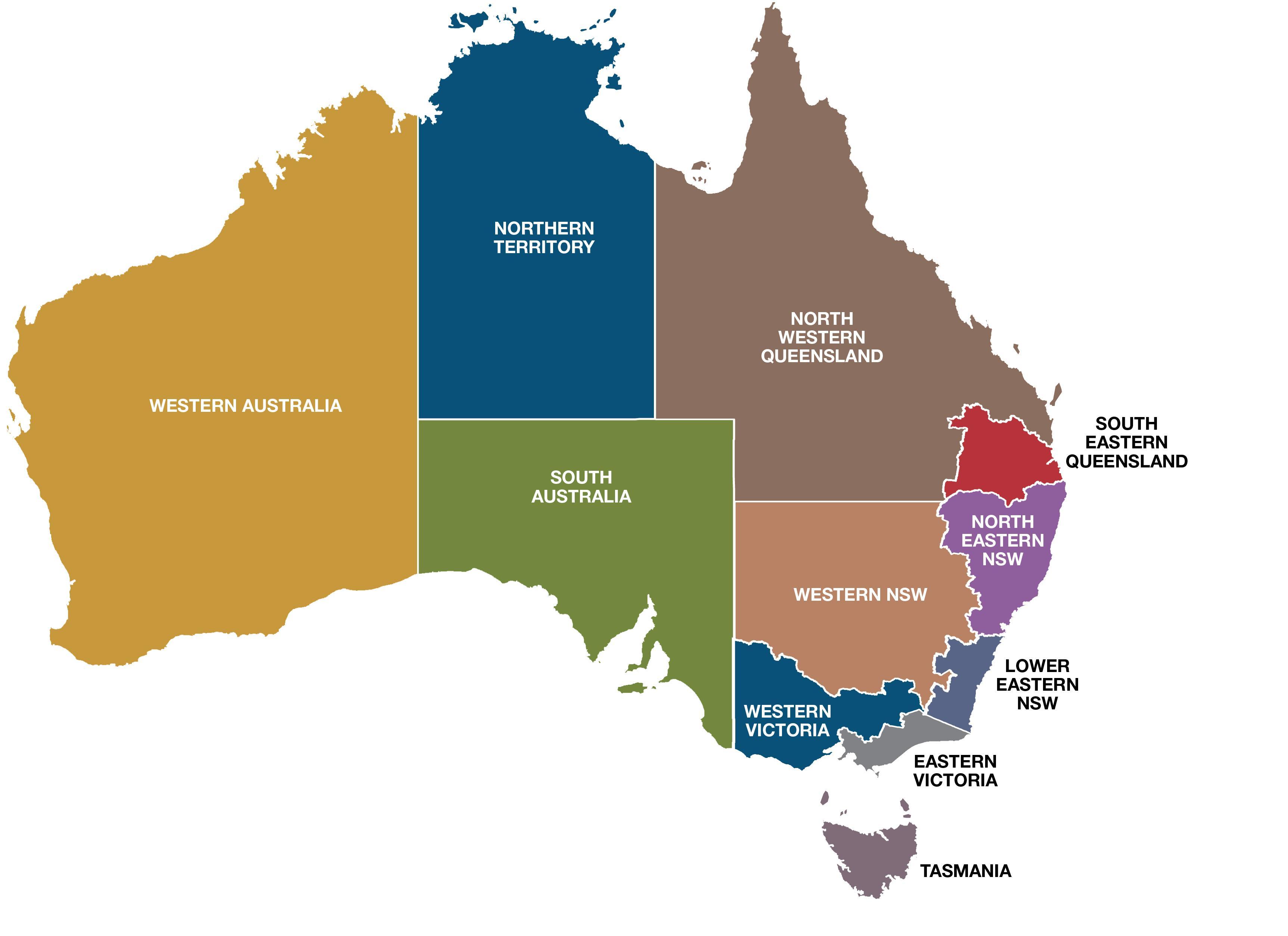 Australien Regioner Kort Kort Over Australien Regioner