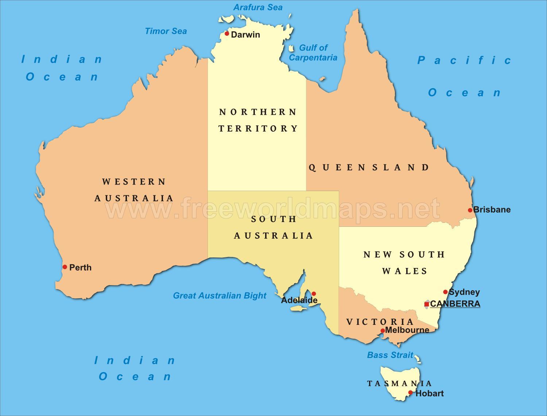 Australien Storre Byer Kort Kort Over Australien Med Storre Byer