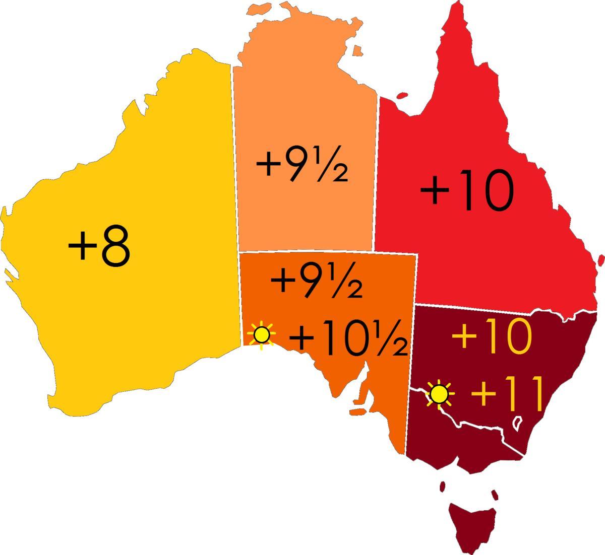 Australien Tidszone Kort Tid Zoner Australien Kort Australien Og