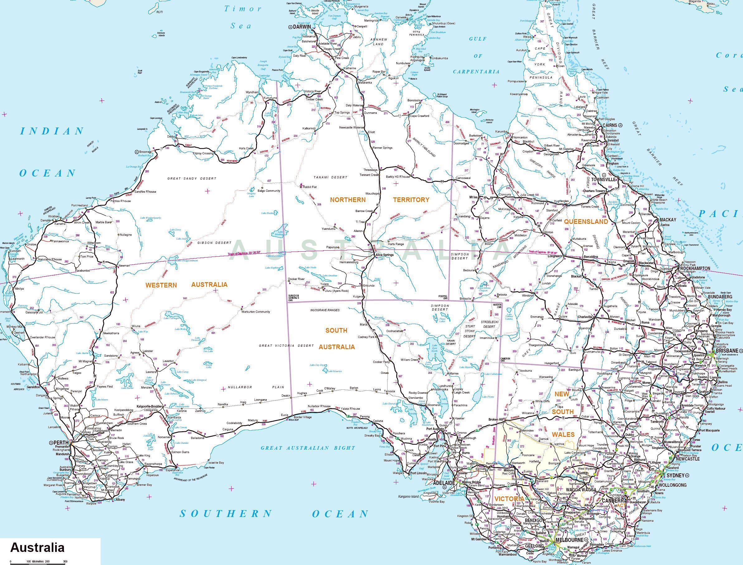 Australske Byer Kort Australske Kort Med Byer Australien Og