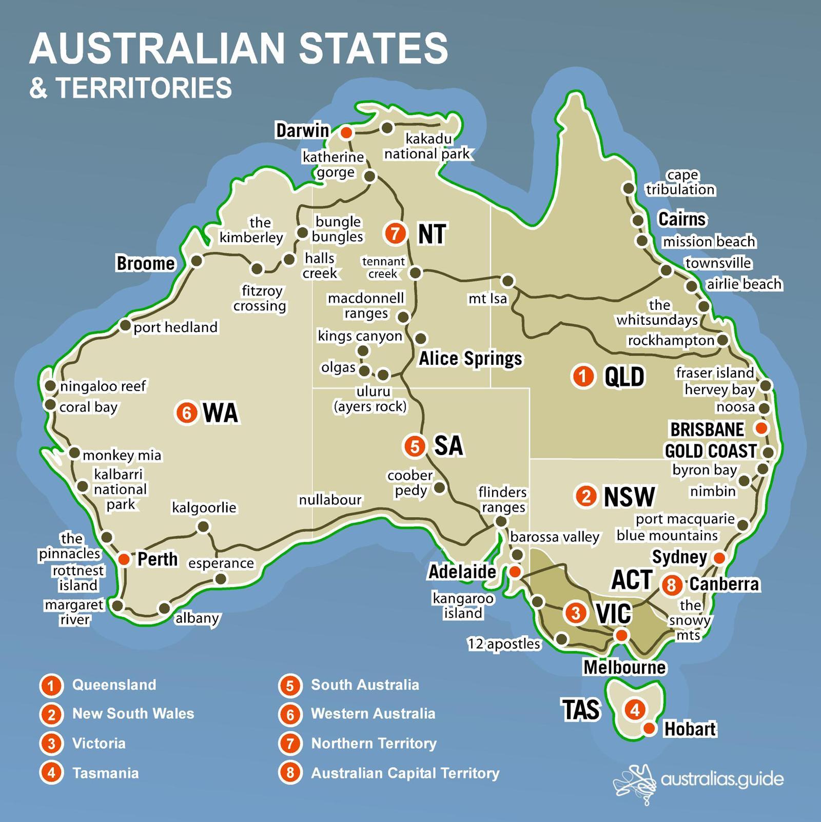 Australske Kort Stater Kort Australske Stater Australien Og New