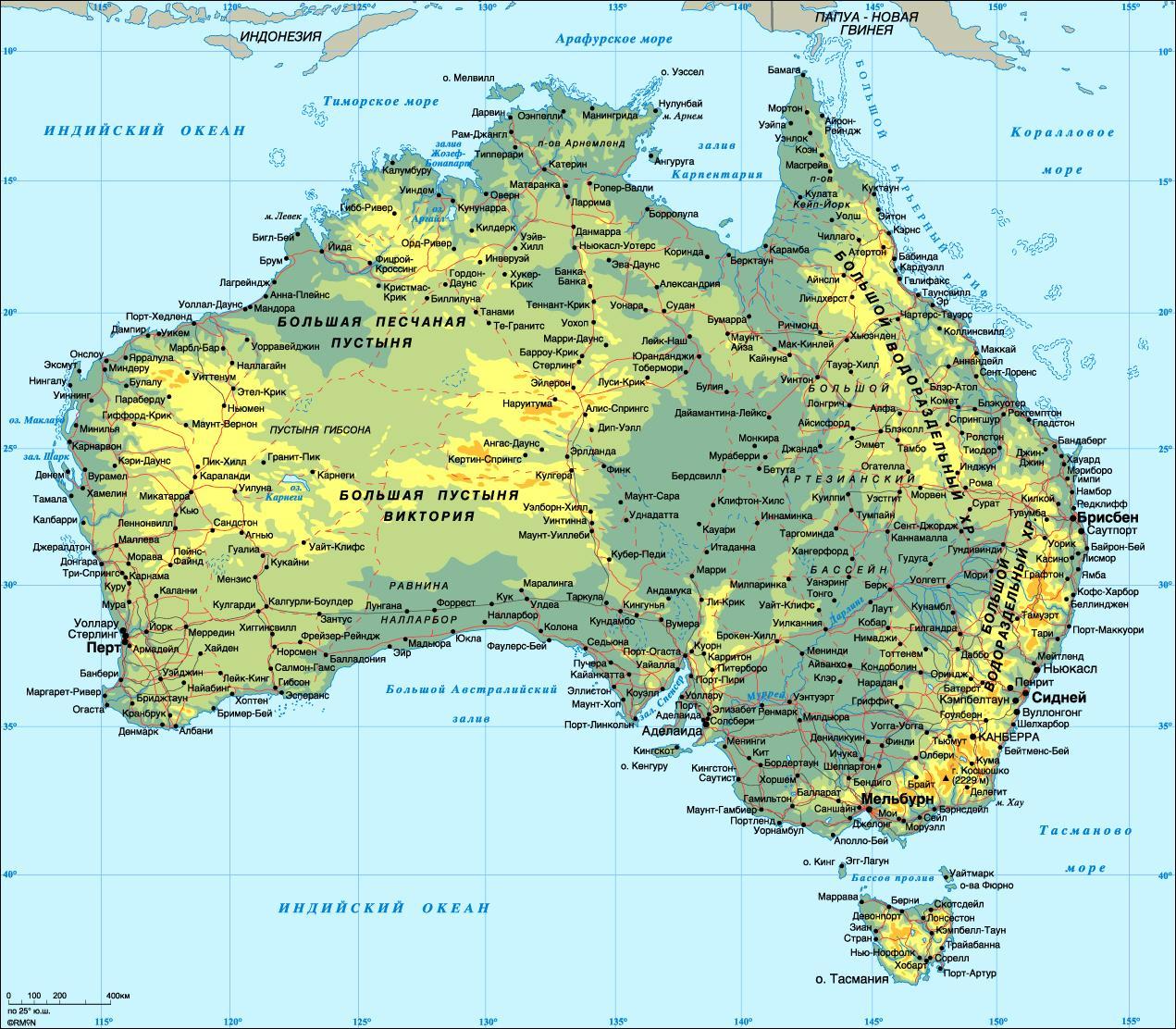 Detaljeret Kort Over Australien Australien Detaljeret Kort