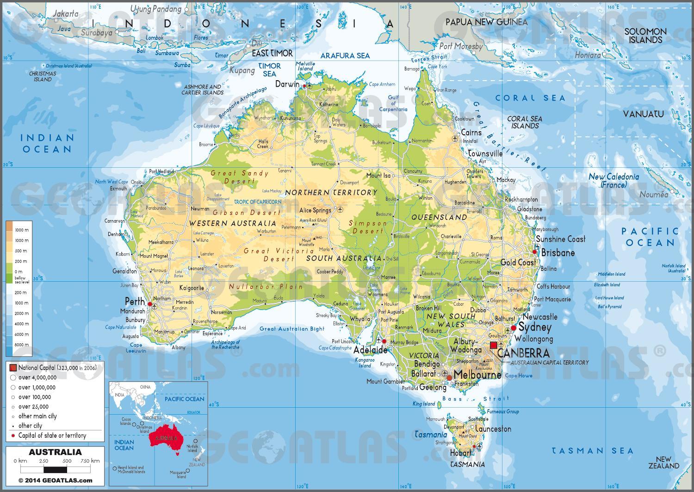 Kort Australien Kort Over Australien Og New Zealand Oceanien