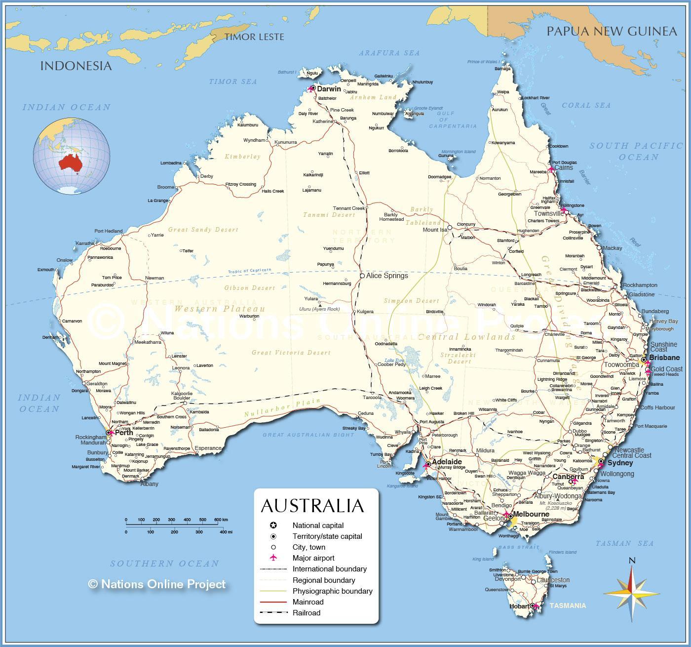 Kort Over Australien Med Byer Australien Kort Med Byer