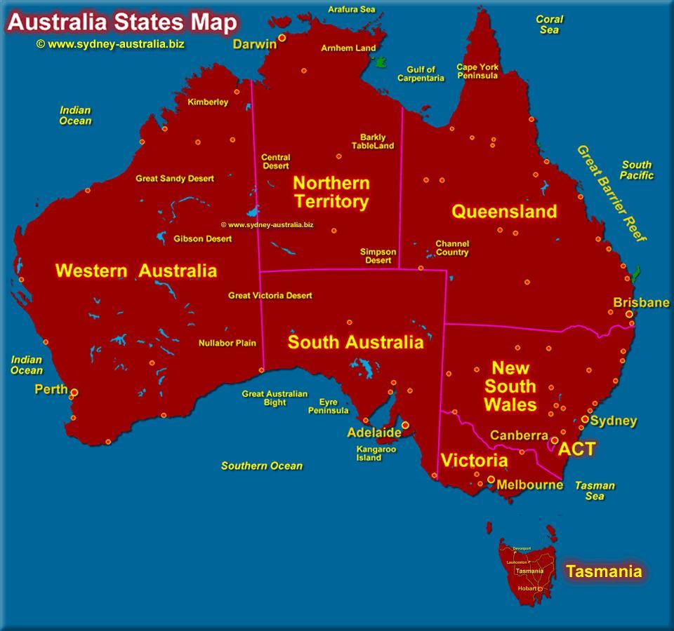 Australske Stater Kort Australske Kort Med Stater Australien