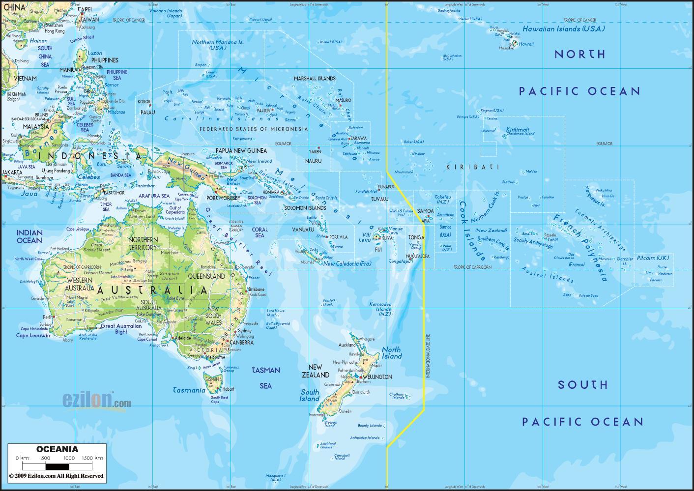 Oceanien Australien Kort Australien Og Oceanien Kort Australien