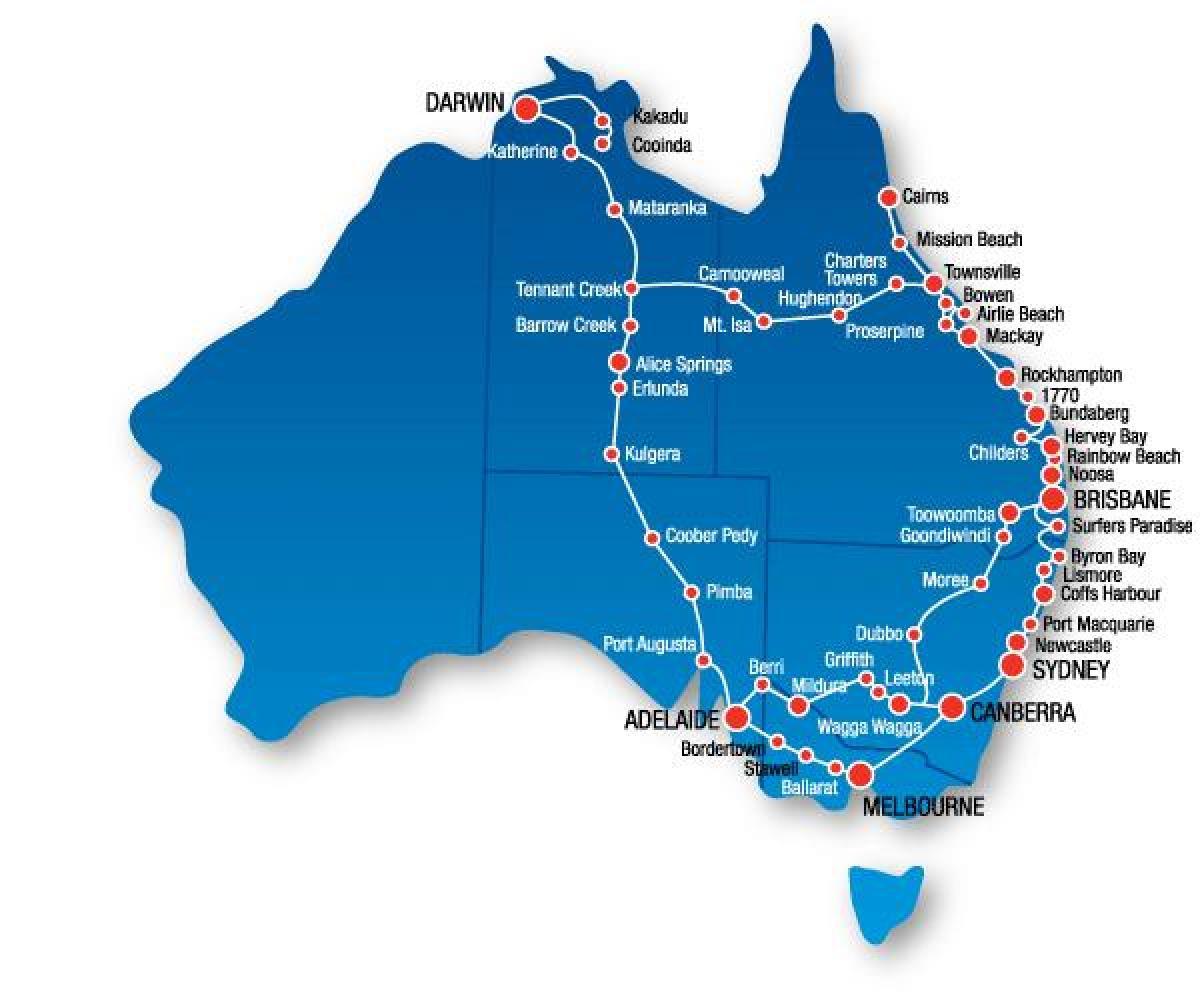 Australiens Ostkyst Kort Kort Over Australiens Ostkyst