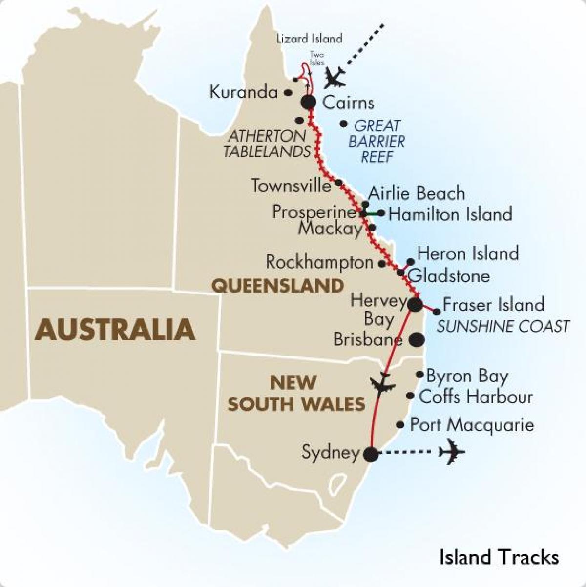 Australske Ostkyst Kort Kort Over Ostkysten Af Australien Og New