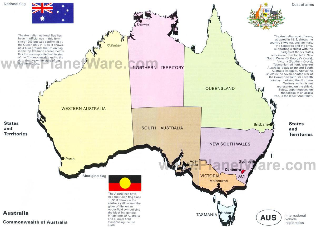 Australske Stater Og Territorier Kort Kort Over Australske