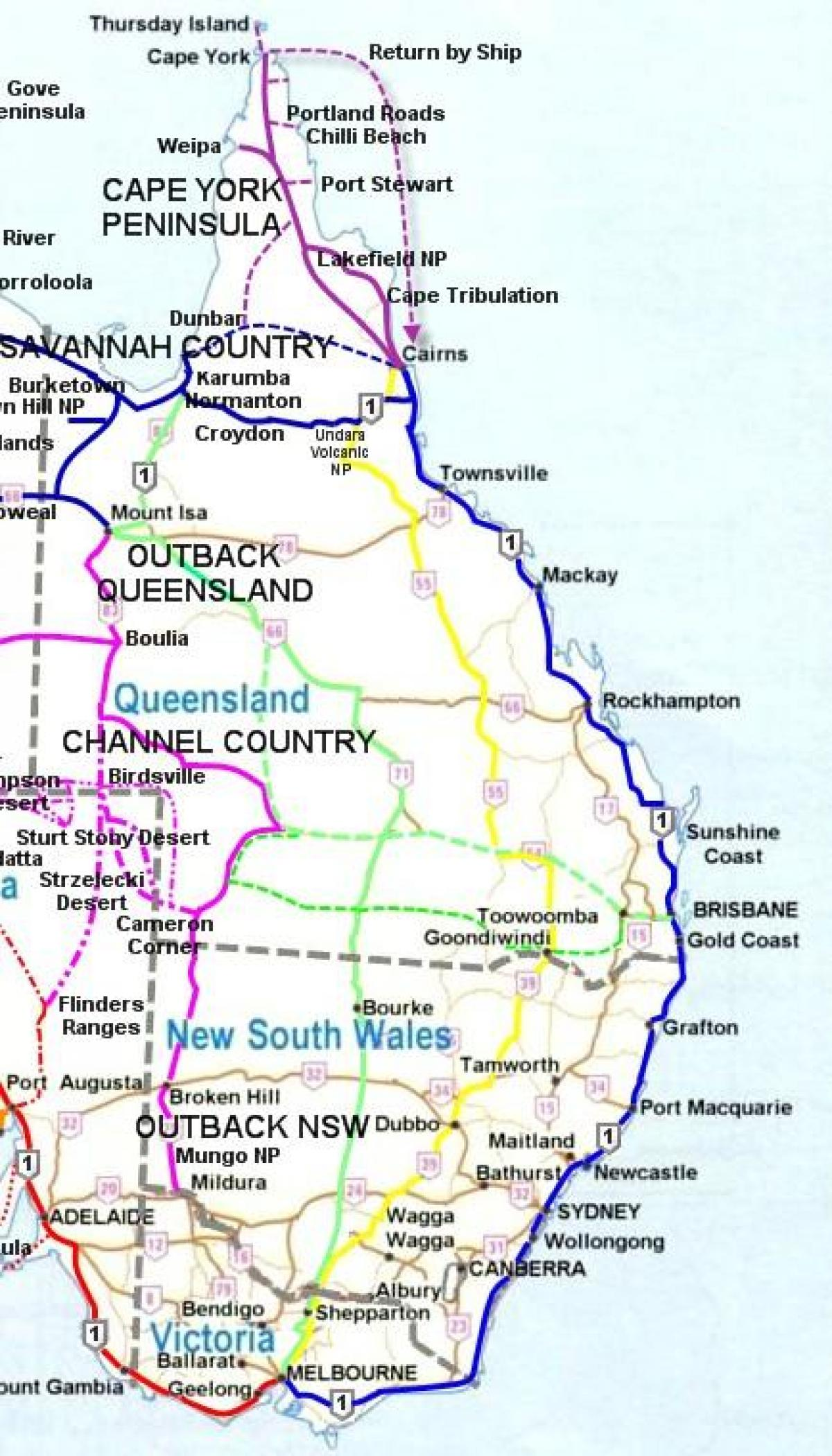 Kort Over Australien East Coast Kort Af East Coast Australien