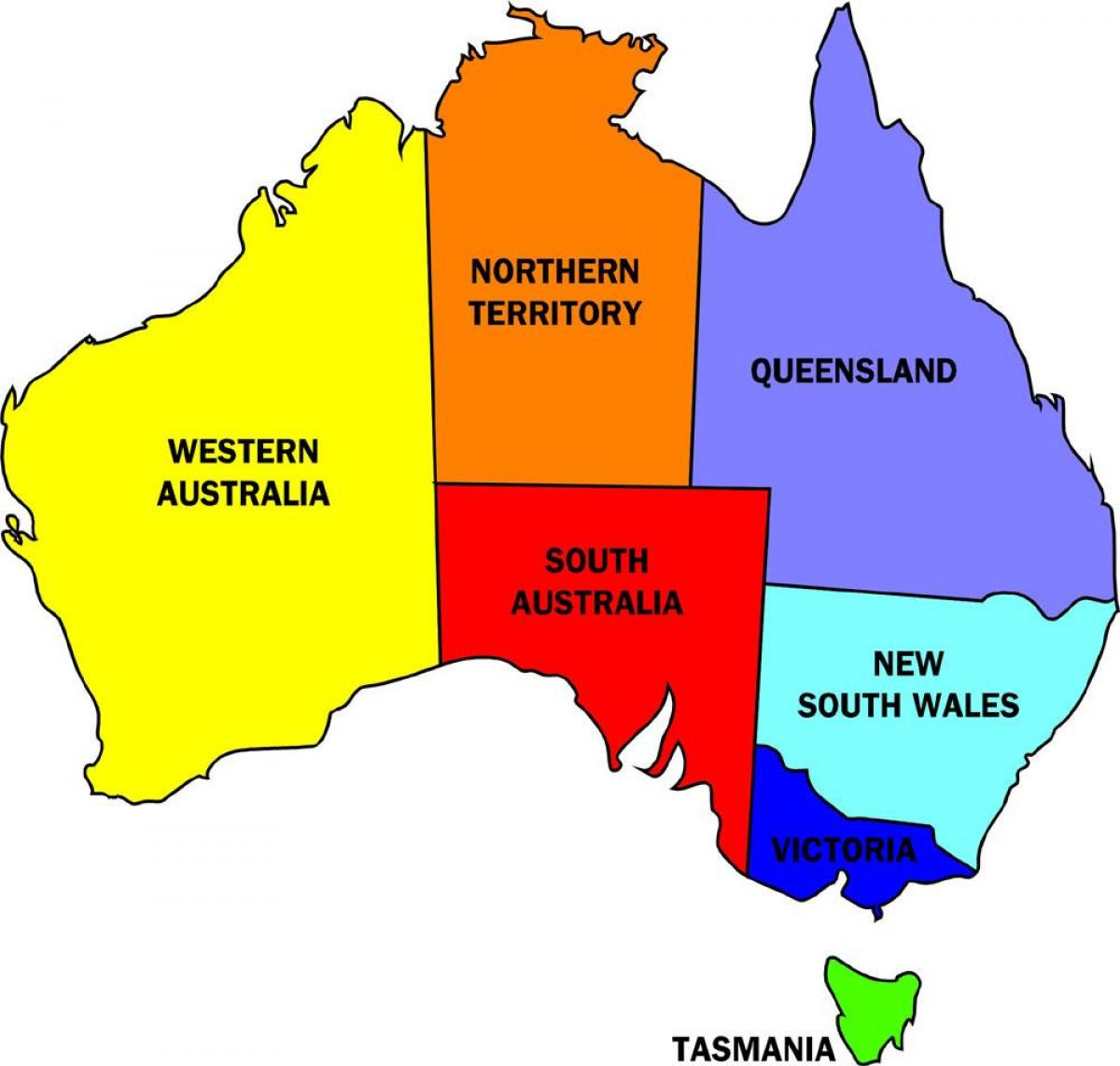 Kort Over Australien Stater Stater I Australien Kort Australien