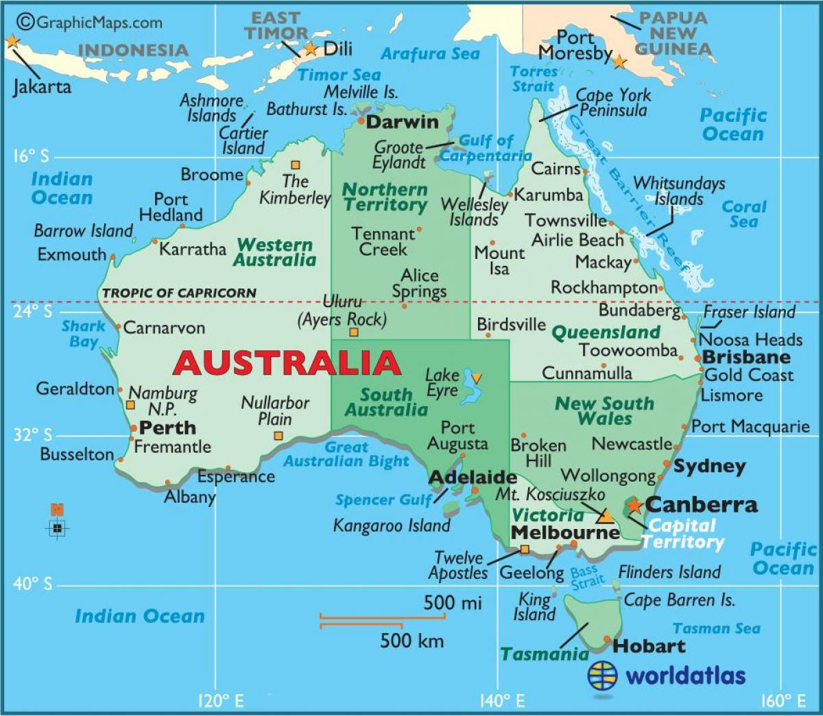 Printable Kort Over Australien Kort Over Australien Printable