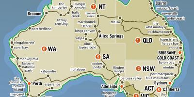 Australien Hedder Kort Kort Over Australien Med Stater