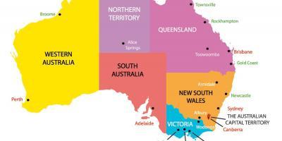 Australske Tidszoner Kort Australien Kort Tid Australien Og New